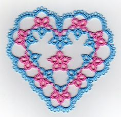 tells how to split the two colors to make heart design stand out.      Tat-a-Renda Patterns: Heart o' Daisies
