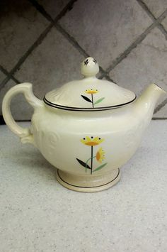 Vintage Harker Teapot The Oldest Pottery in American Chinaware Hotoven Flower | eBay