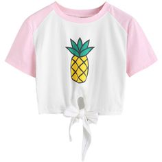 White Pineapple Print Raglan Sleeve Tie Front Crop T-shirt ($15) ❤ liked on Polyvore featuring tops, t-shirts, pineapple crop top, pineapple t shirt, pineapple tee, cotton t shirts and white t shirt