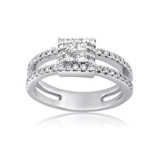 This isamulti stone ring set with an invisible pave head as center of princess shaped diamonds and a scallop halo / clusterof round diamonds. The ring is set with 52 diamonds, the 4 center diamonds, princess cut, white color in ranges of F-G, clarity is eye clean SI, approximately carat weight is 0.21 carat. The diamonds set in halo and the band of the ring are 48 round brilliant cut, white color in ranges of F-G, clarity is eye clean SI, approximately carat weight is 0.42…