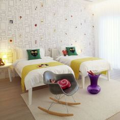 * I like the white bedspread with a pop of colour with shawl at end of the bed and cushion would look nice with a soft pink and fushia pink cushion for girls room? maybe!