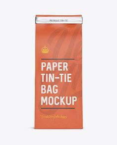 Paper Bag w/ a Metallic Paper Tin-Tie Mockup - Front View (Preview)