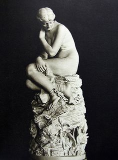 "Johannes Takanen: ""Andromeda"", 1882, marble, Dimensions: height 82 cm,Current location: Ateneum art museum, Helsinki, Finland."