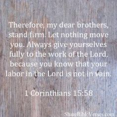 1 Corinthians 15:58 Devote yourselves to his work. Be honest, what else matters than him?