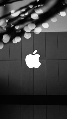 APPLE LOGO BW DARK WALLPAPER HD IPHONE