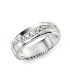 Sterling Silver Brush finished wave Cubic Zirconia Ring. Sizes K to R 1/2