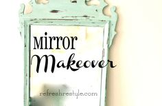 Mirror Makeover with Annie Sloan Duck Egg Blue. Thrift store mirror with a little damage is repaired, painted with a beautiful chalk paint, the Annie Sloan. Distressed Mirror, Distressed Painting, Mirror Painting, Mirror Mirror, Mirrors, Chalk Paint Dresser, Diy Cans, Mirror Makeover, Painted Furniture