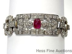 Antique-No-Heat-Natural-Ruby-Fine-Old-Euro-Diamond-Wide-Platinum-1930s-Bracelet..