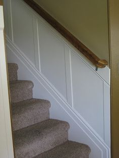 Want to do this do the basement stairs and maybe in the entry TDA decorating and design: Stairwell Board & Batten Tutorial