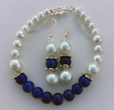 Elegant Pearl and Blue Jewelry Set Royal Blue by TheRedUnicycle