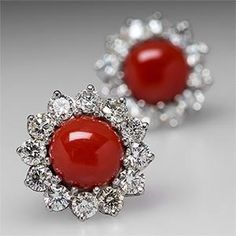Vintage Red Coral Earrings With Diamond Halos- Natural red coral and diamonds. Platinum - EraGem