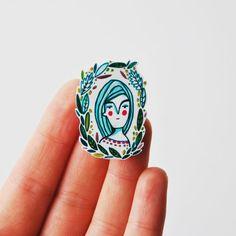 brooch shrink plastic pin  leaf girl portrait by ireneagh on Etsy, €10.00