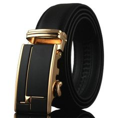 Men Belt Leather high quality Luxury Wide3.5CM Metal automatic buckle