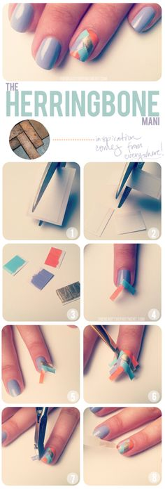 so smart! paint pieces of tape different colors then tape it to your nail and trim the edges!