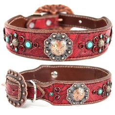 A red leather dog collar with Swarovski crystals and turquoise stones for medium to large dogs.