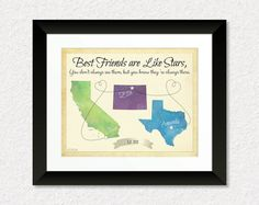 Best Friends are Like Stars, Personalized Map, Going Away Gift, Gift for Best Friends, Gift for Sorority Sisters, Popular Friend Gift