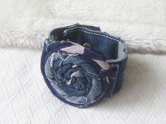 Repurposed Denim Flower Cuff, Womans fabric Jewellery, Denim Blue Fashion Accessory, Rolled Rose wrap bracelet, Repurposed Bangle, via Etsy.