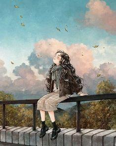 Japon Illustration, Cute Illustration, Art Anime, Anime Art Girl, Manga Girl, Anime Girls, Forest Girl, Beautiful Fantasy Art, Digital Art Girl