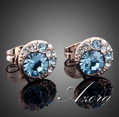 AZORA 18K Gold Plated Stud Earrings Blue Eyes Stellux Austrian Crystal, $14.49