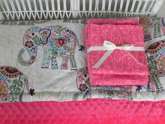 Elephant Toddler Bedding Set - Minky Comforter or Duvet Cover with Toddler Sheet Set - Made to Order by SeasonsofLoveBtq on Etsy Nursery Bedding Sets Girl, Girl Nursery, Girl Room, Nursery Ideas, Baby Bedding, Nursery Room, Bedroom, Little Mac, Little Babies
