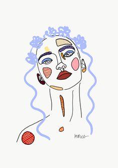 Blue Art Print by mmvce - X-Small Posca Marker, Marker Art, Cartoon Drawings, Art Drawings, Flower Drawings, Cartoon Cartoon, Cartoon Characters, Sharpie Art, Sharpie Projects