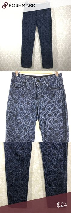 "NYDJ 4 Ankle Blue Printed Paisley Print Jeans Pant NYDJ  Women Size 4  Ankle  Blue  Printed  Paisley Print  Jeans Pants  Stretchy - 99% Cotton 1% Spandex Made in USA  Overall good condition. Minimal to no wear seen. Preowned, not mint, but no noticeable flaws.  All items are measured laying flat and are approximate Top to bottom: 37.5"" Inseam: 28.5"" Waist: 14.5"" Hip: 20"" Front Rise: 9"" NYDJ Pants Ankle & Cropped"