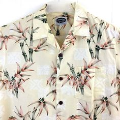 Hawaiian Islands Men's XL Bamboo Shirt 100% Cotton Short Sleeve with Pocket #HawaiianIslands #ButtonFront