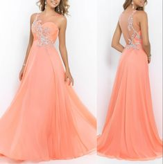 Bg8 Gorgeous Scoop Neck Chiffon Party Dress See Through Back Prom Dress,Crystals Beading Long Prom Dresses