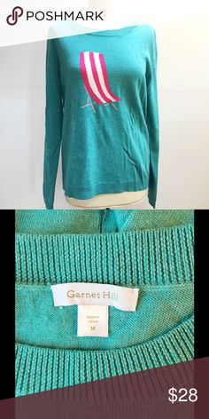 Beach Chair Sweater! by Garnet Hill NWOT. Never worn. Super cute Aqua sweater with pink & white beach chair design. Lightweight 100% wool. Comes from a smoke- and pet-free house. Bundle for additional savings! Garnet Hill Sweaters Crew & Scoop Necks