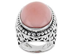Oval Peruvian Pink Opal Cabochon Sterling Silver Solitaire Ring