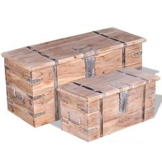 Wooden Storage Trunks Chests Set Of 2 Furniture Solid Acacia Wood Handmade Brown