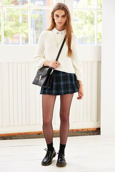 Ecote Plaid Inverted Pleat Mini Skirt - Urban Outfitters