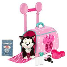 Disney Minnie Mouse and Figaro Pet Travel Carrier Play Set | Disney StoreMinnie Mouse and Figaro Pet Travel Carrier Play Set - Fly away to far-off lands (or just around the corner) with Minnie's rolling play pet carrier, complete with purr-fect plush Figaro pal - plus all the accessories needed for a weekend of fun ''fur'' all!