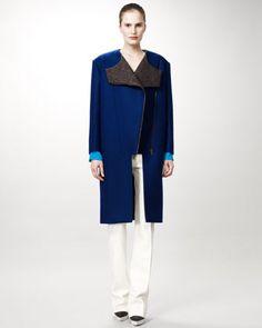 Asymmetric-Zip Coat, Collarless Blouse & Damask Straight-Leg Pants by Stella McCartney at Neiman Marcus.
