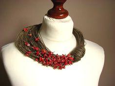 greyheartofstone - red coral and linen neckpiece Textile Jewelry, Fabric Jewelry, Tribal Jewelry, Jewelry Art, Beaded Jewelry, Jewelry Necklaces, Jewelry Design, Fabric Necklace, Diy Necklace