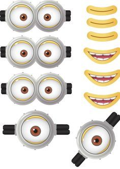 MINION - Minion Movie - Minion Eyes - Minion Mouths - Instant Download - Party Favor - Digital Printable Design - Minion Printable