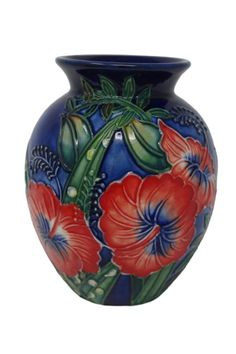 Old Tupton Ware 1599 Hibiscus Vase Hand Made Tube Lined Pottery Blue & Red 1599
