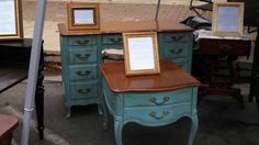 Gorgeous french provincial side table and desk lovingly chalk painted AS Provence and sealed with black wax. SOLD!Tamarabeard1@gmail.com