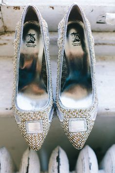 jeweled wedding shoes, photo by Natasha Hurley http://ruffledblog.com/winter-whites-wedding-inspiration #weddingshoes #accessories