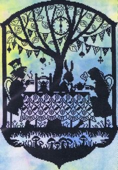 Bothy Threads kits AU$56 in Sept-15. A silhouette scene from Alice in Wonderland with Alice, the Mad Hatter, the March Hare and the sleeping dormouse.