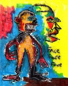"NEZ PEEK Original Drawing ""SAVING FACE"" outsider ABSTRACT ART dada EXPRESSIONIST #Expressionism"