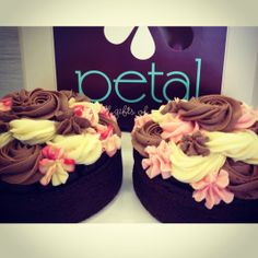 Petal Topcakes - [left] Chocolate Cake Sponge with Raspberry, Chocolate and Vanilla Cream Cheese Icing [right] Chocolate Cake Sponge with Ripe Strawberry, Vanilla and Chocolate Icing #petalcupcakes [6 inches]