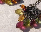 Bohème lustre boucles d'oreilles en argent Sterling oxydé, Multi pierres précieuses, Floral, Handmade, OOAK, Boho Unique Dangle Earrings, botanique