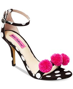 Betsey Johnson Lylly Two-Piece Pom-Pom Sandals. Fashioned in a fun, polka-dot print with bright, pom-pom accents, Betsey Johnson's Lylly sandals add cheeky flair to any outfit. (affiliate)
