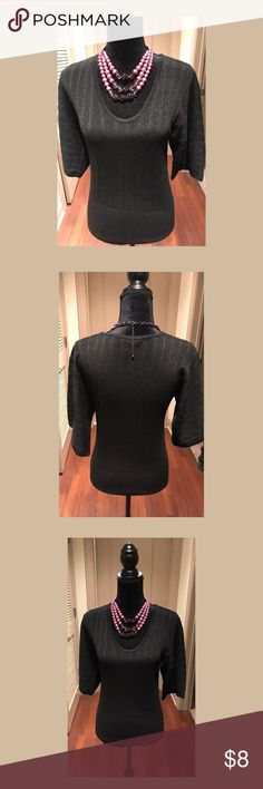 Sparkly Black Sweater Black sparkly blouse. Excellent used condition. Pet-free & 🚭free home. Sweaters V-Necks