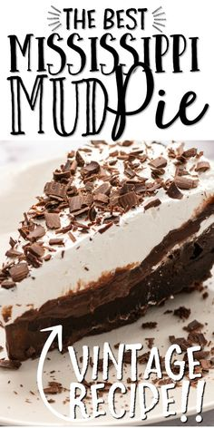 This Mississippi mud pie recipe will have you feeling like a true pastry chef. You'll make an authentic, traditional Mississippi mud pie that is full of chocolate filling and complete with a homemade graham cracker crust and whipped topping. This classic dessert is sure to be the best chocolate pie you'll ever try. With a fudge brownie layer & creamy chocolate filling on top of a homemade chocolate graham cracker crust, Mississippi Mud Pie is undoubtedly perfect for chocolate lovers! Baked Chocolate Pudding, Chocolate Pies, Chocolate Filling, Homemade Chocolate, Chocolate Lovers, Chocolate Mud Pie Recipe, Chocolate Graham Cracker Crust, Homemade Graham Cracker Crust, Easy Pie Recipes