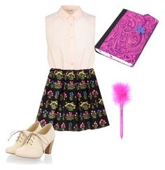 """""""Violetta writting on her diary"""" by cachito-violetta ❤ liked on Polyvore featuring Miss Selfridge and Valentino"""