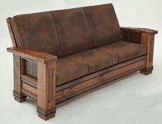 Great Rustic Sofa Design Ideas For Your Living Room 12 Mission Furniture, Craftsman Furniture, Log Furniture, Handmade Furniture, Living Room Furniture, Furniture Design, Furniture Movers, Furniture Repair, Bespoke Furniture