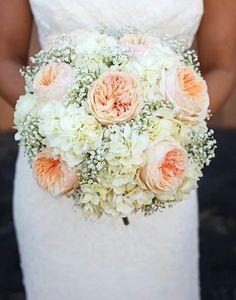 """Round Wedding Bouquet Showcasing: White Gypsophila, White Hydrangea + Peach """"Juliet"""" English Garden Roses"""