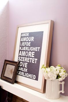 This love wall art would be great for a master bedroom.  Make it in the languages of all the places we've been!
